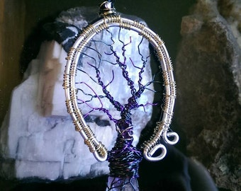 Double Amethyst Tree Pendant