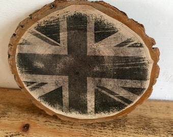 Rustic Wooden Union Jack picture print with bark  (with magnets) - Handmade, Rustic and unique!