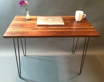 Black Walnut desk with Hairpin Legs.