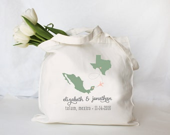 Custom Personalized Destination Wedding Tote, Wedding Welcome Tote, Wedding Welcome Bag, Custom Wedding Tote Bag, any city state or country
