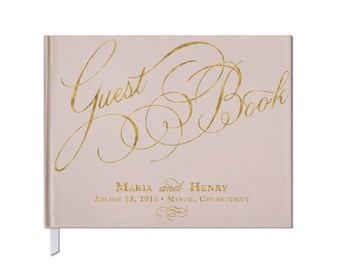Gold and Blush Wedding Guest Book • Custom Guest Book • Custom Calligraphy • Landscape Orientation