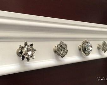 "Jewelry Storage Wall, Hanging Jewelry Organizer, Crystal Knobs, Jewelry Holder, Necklace Organizer, 16"" Necklace Holder, 5 Knobs"