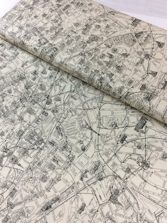 Moda Fabric Paris Map Parchment By Sisters One Yard Cut - Paris map fabric