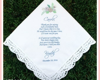Wedding Gift From Groom To Bride Tradition : wedding hankerchief mother of the groom gift printed customized ...