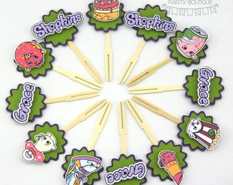 shopkins cupcake toppers | 12 pack | green | bamboo cocktail forks | inspired by wishes poppy corn soda pop d'lish donut kookie cookie
