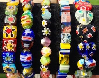 3x Beautiful millefiori glass beaded bracelets