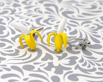 ON SALE Banana Cufflinks Yellow Fruit