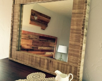Beautiful barnwood Mirror made from reclaimed materials