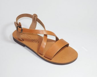 Greek Leather Sandals (35, 36, 40 - Natural leather)