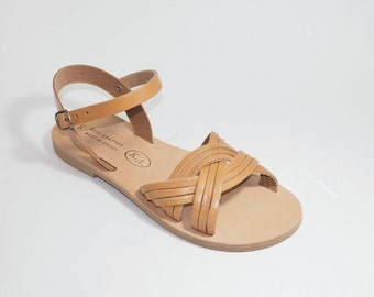 Greek Leather Sandals (38, 39, 40, 41 - Black)