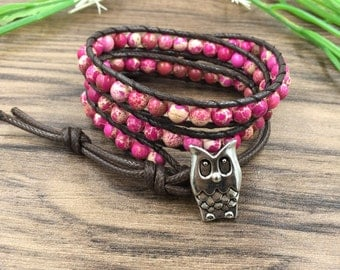Leather Wrap bracelet pink bead bracelet women boho bead wrap bracelet leather bracelet gemstone bracelet natural stone Jewelry 6mm Beads