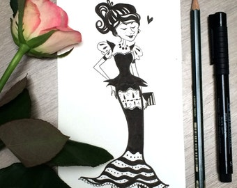 Original illustration - The Fancy Lady in Black