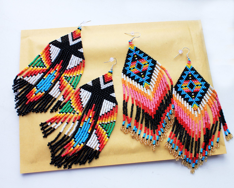 Set Of 2 Pairs Of Native American Beaded By Helendmitrenkoshop