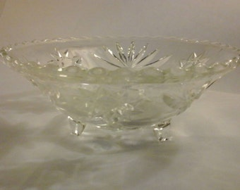 Anchor Hocking Prescut Clear Glass Star Of David Candy Footed 7 Inch Derving Bowl Dish