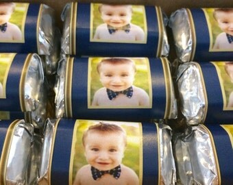 Photo favors, 1st birthday favors, birth announcement favors, mini candy wrappers, first birthday party favors, personalized photo, 50 ct.