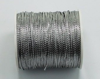 100 meters Silver Metallic Braided Rayon Cord Craft Thread Twine, 0.8mm thick, Christmas Ornaments Macrame Dreamcatcher Webbing  35TH02-J