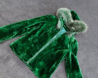 Beaver Fur Hooded Jacket,Green Kids Jacket F212