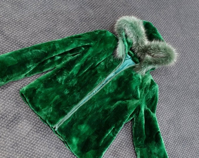 Beaver Fur Hooded Jacket,Green Kids Jacket F212