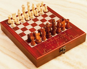 """Personalized Chess Set """"Live-Love-Chess"""", Custom Engraved Travel Chess Board, Unique Gift for Birthday, Christmas, Anniversary, Chess Lovers"""