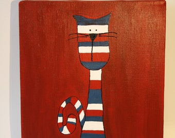 Canvas striped cat with Canadians blue white red