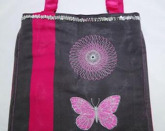 Tote Bag pink and grey