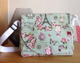 Messenger bag, Green messenger bag, Shoulder bag, Hip bag, Canvas messenger bag, Cross body bag, Patterned messenger bag