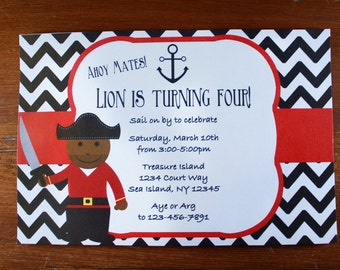 Pirate Birthday Party Invitation-Digital