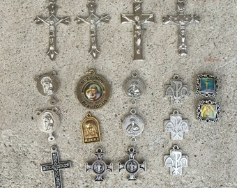 Lot Of 18 New/Old Stock Religious Medals Crosses Crucifix Rosary Connectors C18