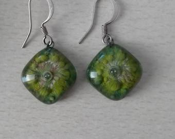 Green glass earrings - Free international Shipping