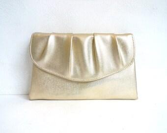 gold clutch, faux leather clutch, envelope clutch bag, fancy evening bag, metallic, small 60s bag, 1960s bag, mad men purse handbag