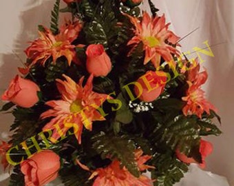 Peach Roses with Star Daisies Cemetery Cone Arrangement