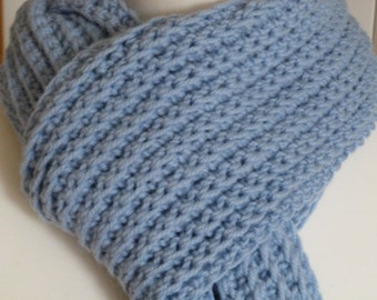 Long hand crocheted baby blue aran weight scarf in a premium wool and alpaca mix yarn