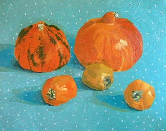 """Painting """"Pumpkins and persimmons"""""""