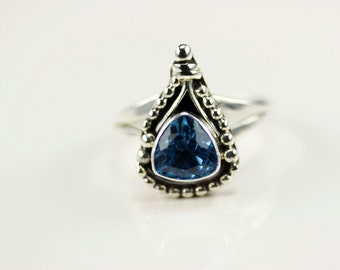 Native American Indian Jewelry Handmade Sterling Silver Blue Topaz Ring Size 8.5