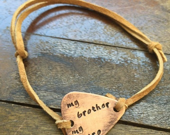 """My Brother My Hero - Antique Distressed Copper Guitar Pick Hand Stamped Bracelet Natural Beige Leather Cord Adjustable 6"""" - See Options"""