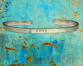 """Anchor Hope - Cuff Bracelet Jewelry Hand Stamped Distressed Look 1/4"""" Wide Organic, Smooth Texture Copper Brass or Aluminum"""