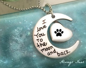 Pet cremation urn cat dog ashes jewelry pendant personalized ashes urn necklace stainless steel cremation Love you to the moon and back