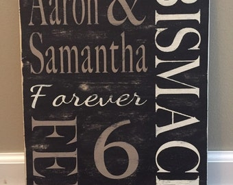 Wedding sign-anniversary sign - distressed personalized-hand painted-custom 16x20