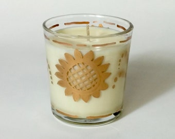 12 oz. Natural Soy Wax Candle Orange Zest Hand Painted Designer Glass Tumbler Orla Soy Candle Rhode Island Eco Friendly