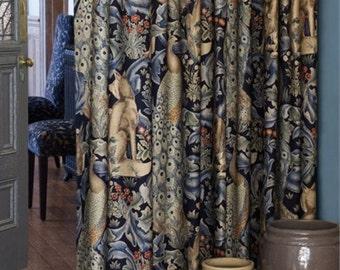 William Morris Fabric - Forest Indigo - Printed Linen Union Fabric -  Made to Measure Curtains