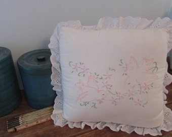 Embroidered Throw Pillow - CLOSET CLEAN OUT