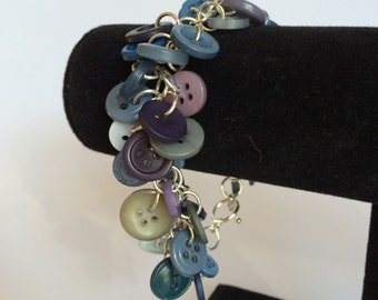 Shades of Blue Shaggy Loop Button Bracelet