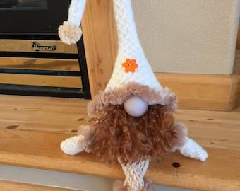 Cream handmade felted gnome