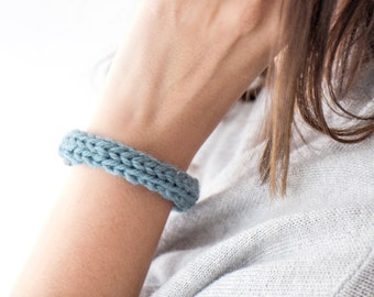 Merino Knitted Cuff // Sage and Silver // More Colours Available