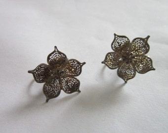 Antique Sterling Silver Filigree Flower Screw Back Earrings