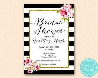 Black Stripes Pink Floral Bridal Shower Invitation, Baby Shower Invitation, Personalized Printable Invitation BS10B BS10