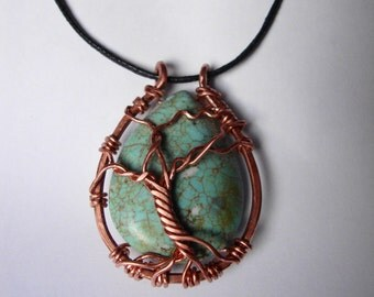 Chalk turquoise and copper tree of life pendant