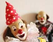 Vintage clowns, set of two, bisque face clowns, collectible dolls