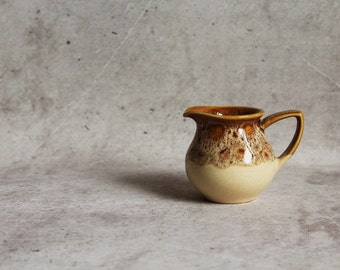 Vintage creamer, tiny ceramic milk jug, little brown creamer