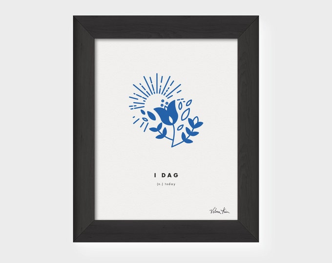 "5x7 ""I Dag"" (Today) Nordic Word Print, blue and white, Norwegian Scandinavian folk art illustration"